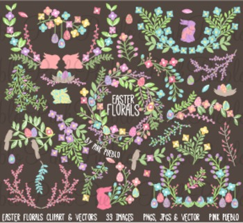 Vintage Easter Flowers and Laurels Clip Art Clipart - Commercial and Personal