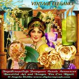 Vintage Elegance Scrapbook Kit Antique Transparent PNG PSD Commercial Use
