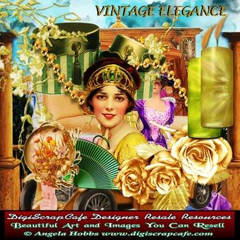 Vintage Elegance Scrapbook Kit Antique Transparent PNG PSD