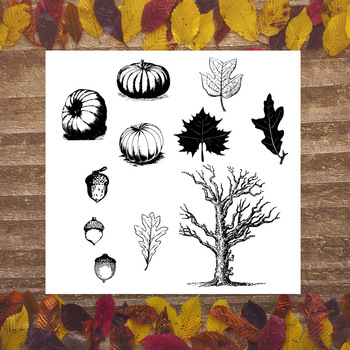 Vintage Fall Clipart, Autumn Clipart, Pumpkin, Fall Leaves, Forest, Halloween