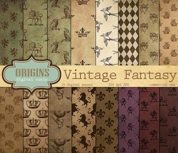 Vintage Fantasy Heraldic Crest Digital Paper Backgrounds