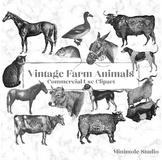 Vintage Farm Animal Clipart, Antique Digital Animal Illustrations