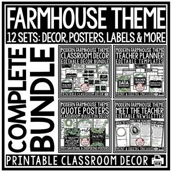 Vintage Farmhouse Theme Classroom Decor EDITABLE