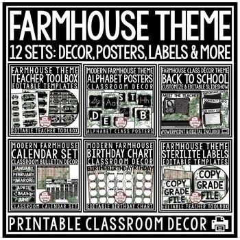 Vintage Farmhouse Classroom Decor EDITABLE