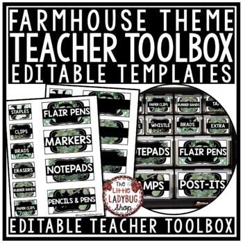 Vintage Farmhouse Classroom Decor- Teacher Toolbox Labels EDITABLE