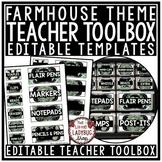 Farmhouse Classroom Decor- Teacher Toolbox Labels EDITABLE Farmhouse Theme
