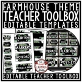 Farmhouse Classroom Decor- Teacher Toolbox Labels EDITABLE
