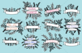 Vintage Floral Banner Silhouettes Clipart Clip Art - Commercial and Personal Use