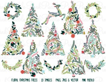 Vintage Floral Christmas Tree Clipart Clip Art - Personal & Commercial Use