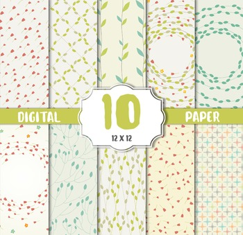 Vintage Floral Digital Paper, Flower CRAFT PAPERS, digital papers