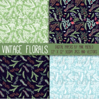 Vintage Floral Pattern Papers and Backgrounds
