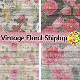 Vintage Floral Shiplap Digital Papers