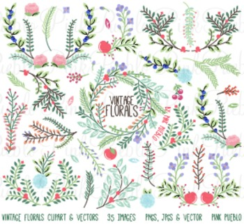 Vintage Florals and Ornaments Clipart Clip Art - Commercial & Personal