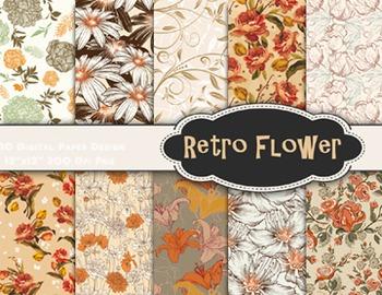 Vintage Flower Digital Paper Shabby Chic Scrapbook Paper