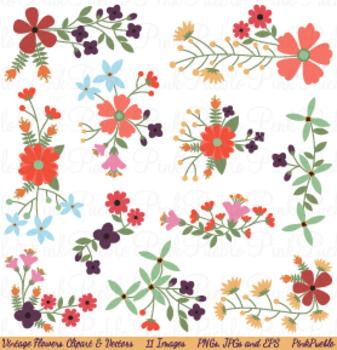 Vintage Flowers Clipart and Vectors