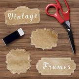 Vintage Frame Clipart, Vintage Kraft Paper Borders