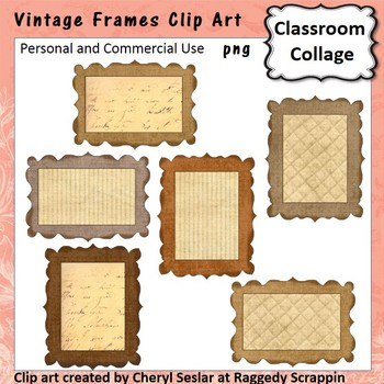 Vintage Frames or Labels Clip Art Color  personal & commercial use