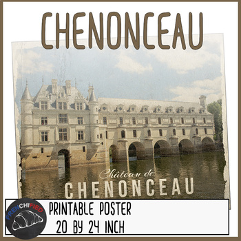 Vintage French travel poster - Chenonceau