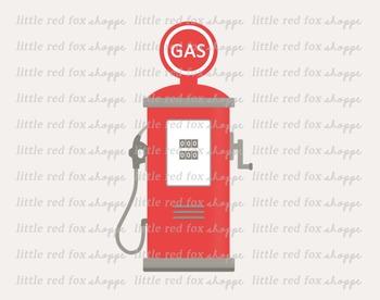 Vintage Gas Pump Clipart; Car, Station, Gasoline