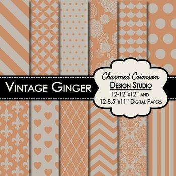 Vintage Ginger Digital Paper 1400