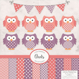 Vintage Girls Owls Vectors & Papers - Owl Clip Art, Baby Owls, Baby Owls Clipart