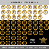 Vintage Glitter Alpha Template Set