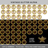 Vintage Glitter Alpha Template Set