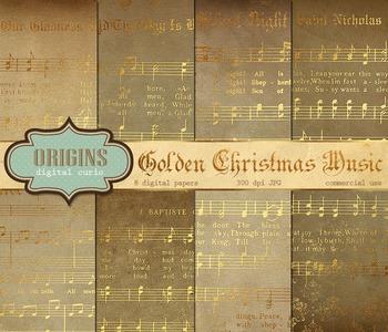 Vintage Gold Christmas Sheet Music Digital Paper