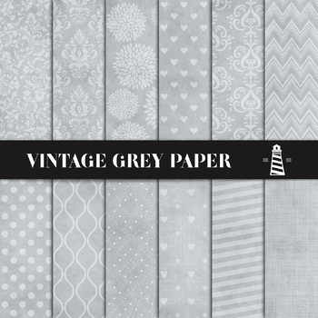 Vintage Gray Digital Paper, Distressed Grey Paper, Textured Backgrounds