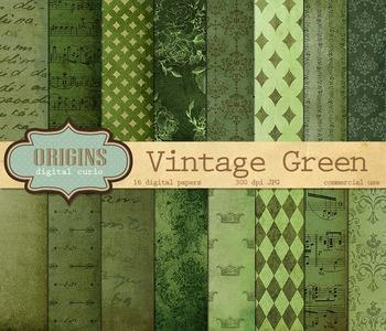 Vintage Green Digital Scrapbook Paper Pack