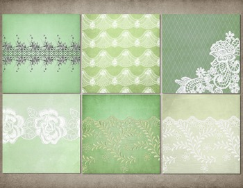 Vintage Green Lace digital scrapbooking papers, grunge background textures