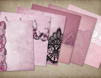 Vintage Grunge Pink Lace Digital Scrapbooking Paper Textures Backgrounds