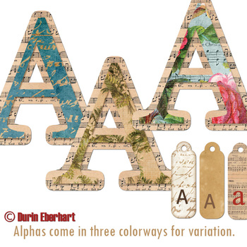 Vintage Grunge Printable Digital Alphabet and Word Art