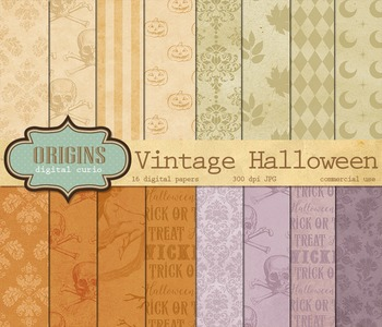 Vintage Halloween Digital Paper Patterns Backgrounds Scrapbooking