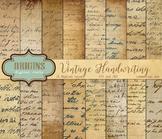 Vintage Handwriting Old Letters Antique Scrapbook Digital Paper Backgrounds