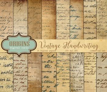 Vintage Handwriting Old Letters Antique Scrapbook Digital