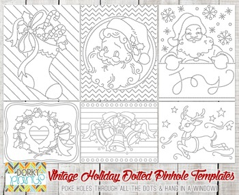 Vintage Holiday Dotted Pin Hole Art Templates