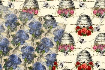 Vintage Honey Bee Digital Paper