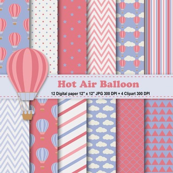 Vintage Hot Air Balloons Digital Paper + Clipart