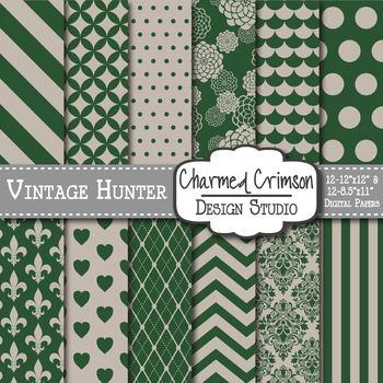 Vintage Hunter Green Digital Paper 1243