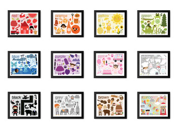 Vintage Illustrated Learn Your COLORS Prints (matching Coloring Pages)