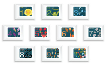 Vintage Illustrated Learn Your NUMBERS Prints - Dark Cools