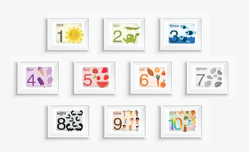 Vintage Illustrated Learn Your NUMBERS Prints - Light Rainbow