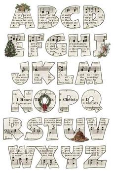 Vintage Inspired Christmas Music Alphabet Clip Art