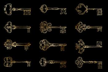 Vintage Keys Clipart, Antique Gold Keys Images, Gold Skeleton Key