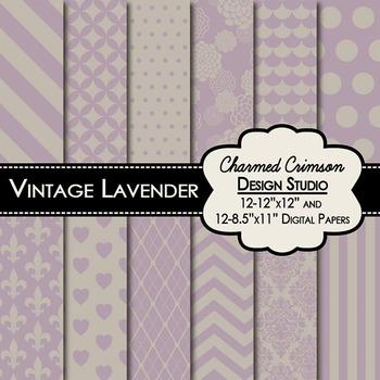Vintage Lavender Digital Paper 1368