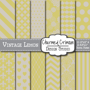 Vintage Lemon Digital Paper 1322