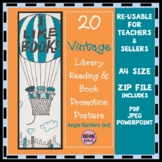 Vintage Library, Reading and Book Promotion A4 Posters set