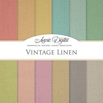 Vintage Linen Digital Paper patterns fabric texture scrapbook background