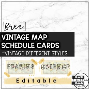 Vintage Map Schedule Cards